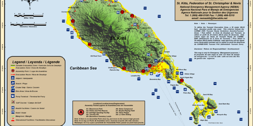 Tsunami Evacuation Map, St. Kitts