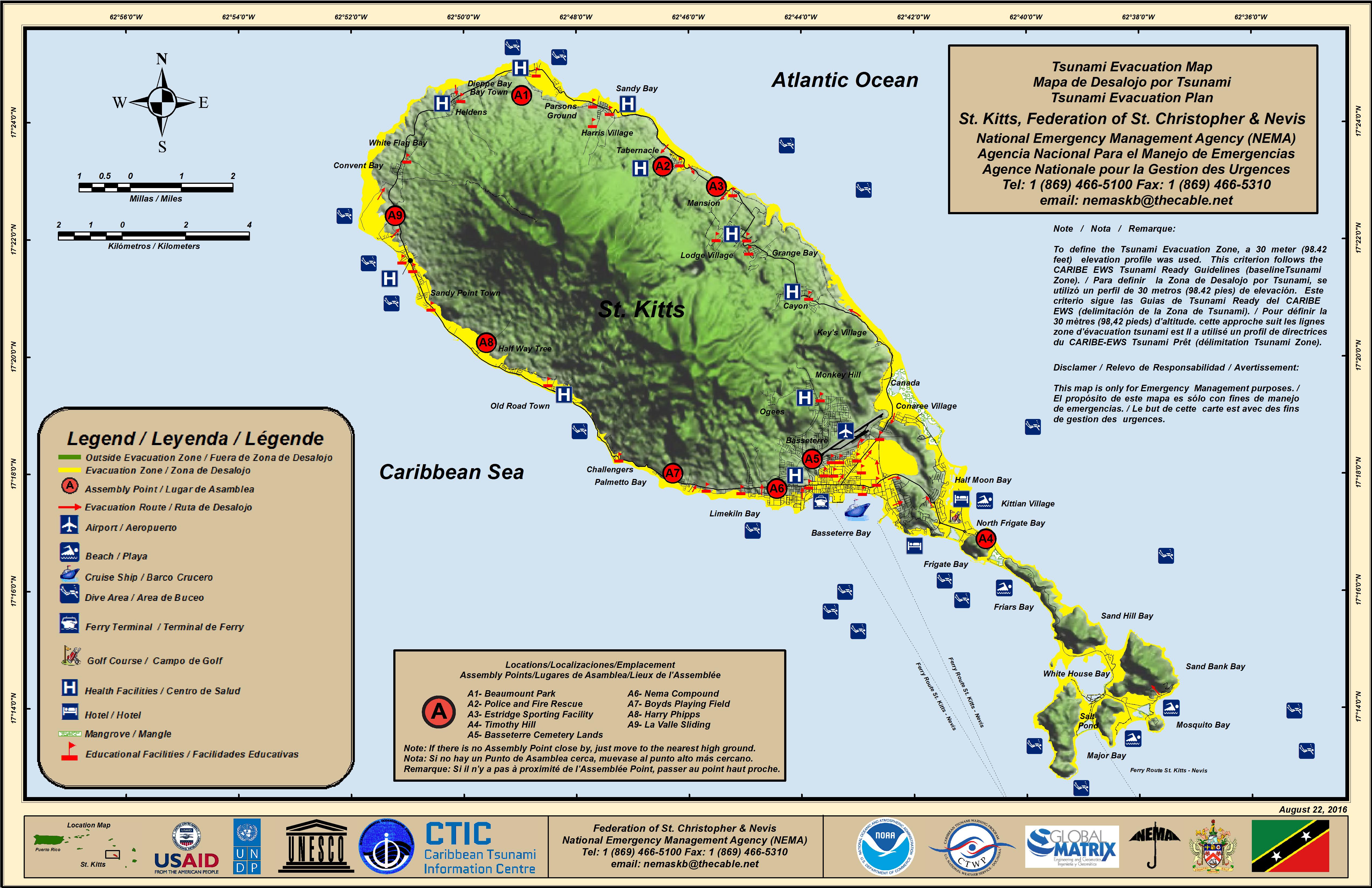 evacuation map st kitts . st kitts and nevis tsunami evacuation maps  nema